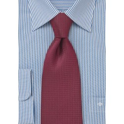 Micro Houndstooth Check Tie in Merlot Red