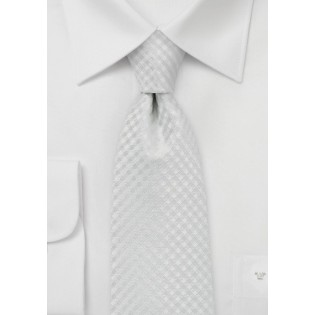 Eggshell White Tie with Gingham Texture