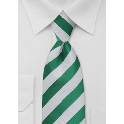 Metallic Green and White Striped Tie