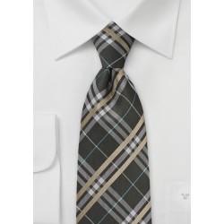 Modern Plaid Tie in Harvest Browns