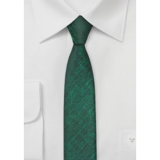 Textured Skinny Tie in Green and Black