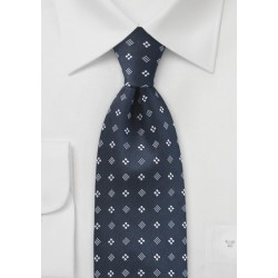 Diamond Motif Tie in Midnight Blue
