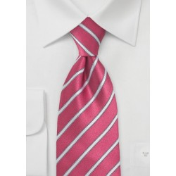Pink and Light Silver Striped Tie  in Extra Long