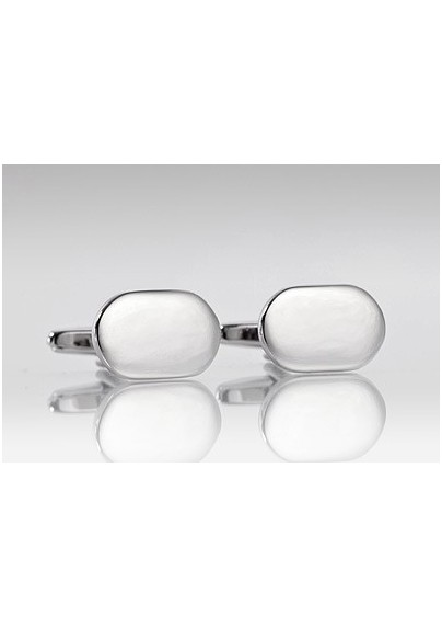 Polished Silver Oval Shaped Cufflinks