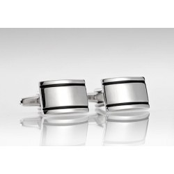 Silver Cufflinks with Black Stripes