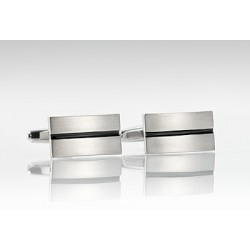Stainless Steel Cufflinks with Black Resin Center Stripe