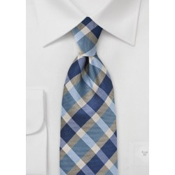 Preppy Plaid Tie in Blues