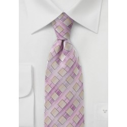 Diamond Patterned Tie in Lilacs