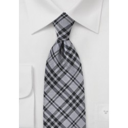 Plaid Tie in Black and Charcoal