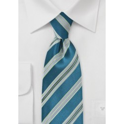 Striped Tie in Teal and Limes