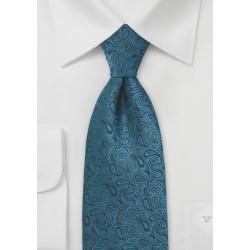 Elaborate Paisley Tie in Teal and Black