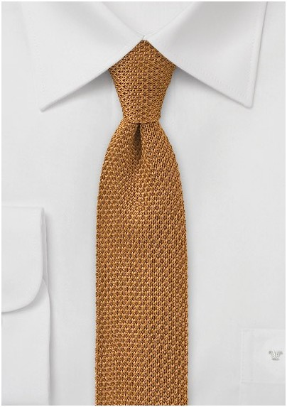 fb695c9bec18 Men's Knit Tie in Amber Gold Color