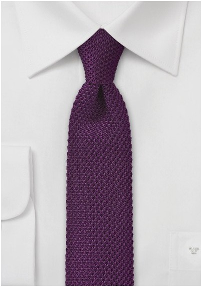 Modern Purple Knitted Skinny Tie