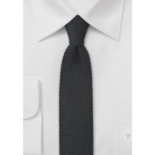 Knit Skinny Tie in Black
