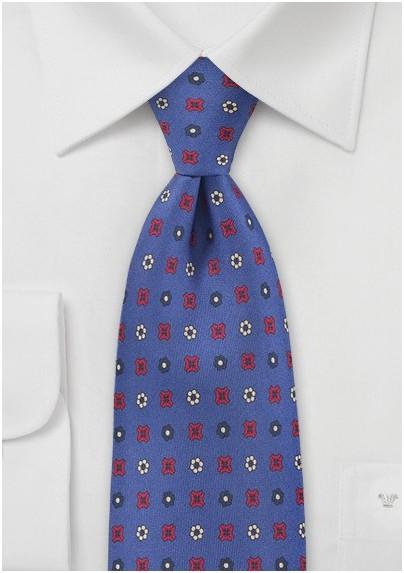 Decorate Emblem Tie in Royal Blue