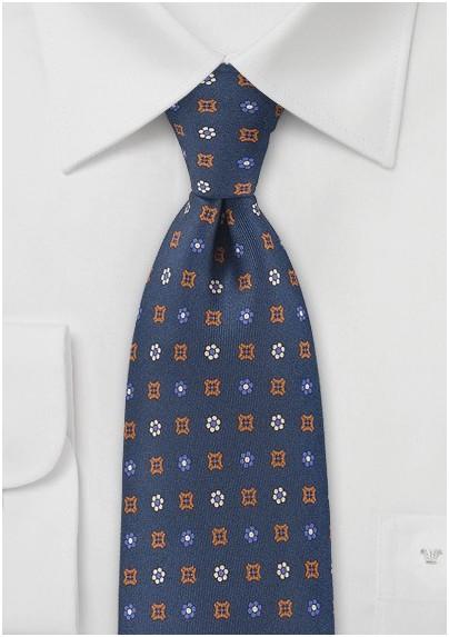 Navy Blue Tie with Emblem Designs