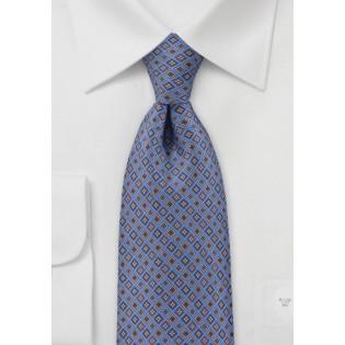 Blue Tie with Decorative Diamonds
