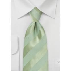 Striped XL Length Tie in Moss Green