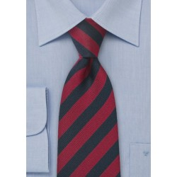 Repp Textured Red and Navy Tie in XL Length