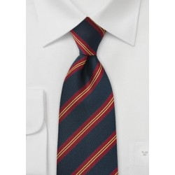 XL British Regimental Striped Necktie in Navy Blue, Gold, and Red