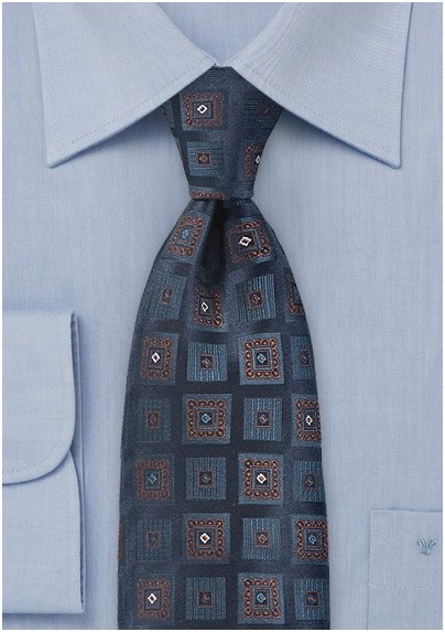Regal Square Motif Necktie  in Midnight Blue
