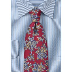 Paisley Designed Tie in Crimson