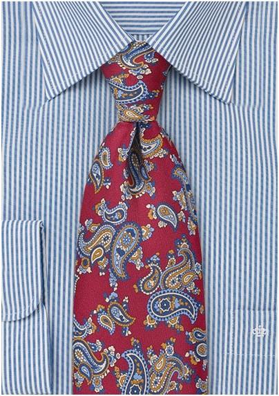 Paisley Designed Tie in Crimson