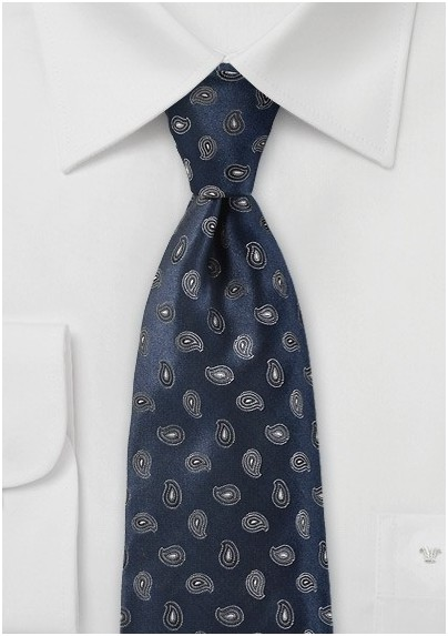 Modern Paisley Tie in Navy and Silver