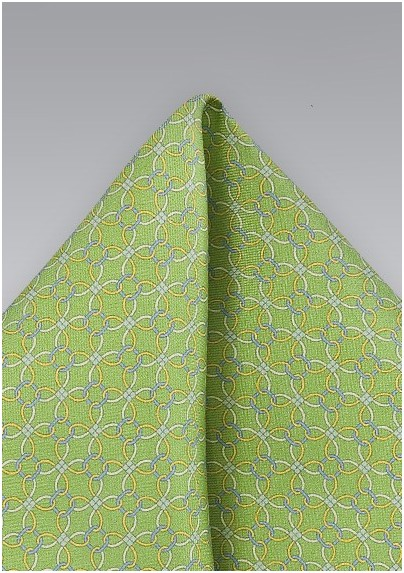 Graphic Mens Pocket Square in Limes and Yellows