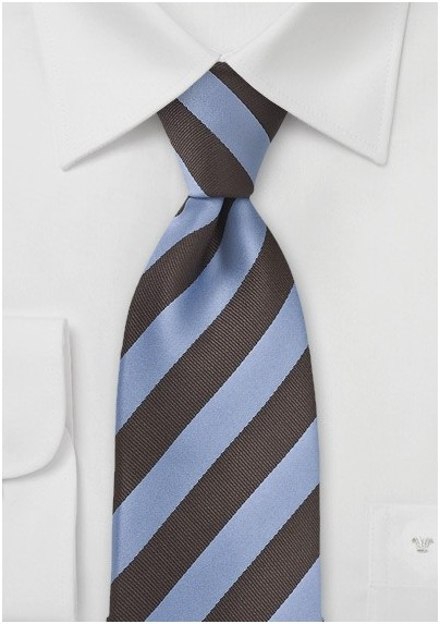 Dragonfly Blue and Brown Striped Kids Tie