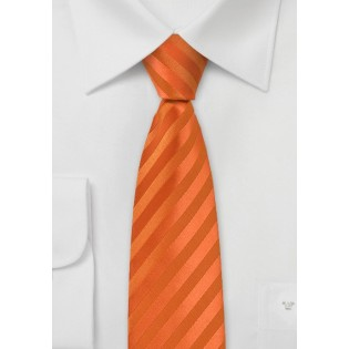 Bright Orange Striped Skinny Tie