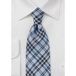 Modern Plaid Tie in Sky Blue