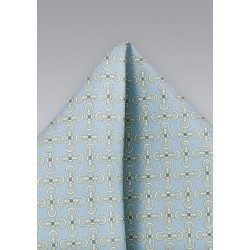 Patterned Pocket Square in Pastel Blues and Yellows