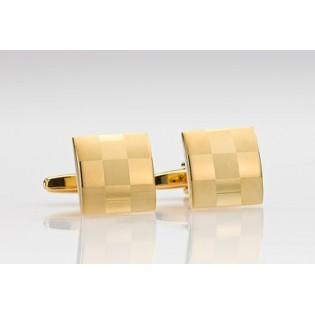Square Shape Check Pattern Cufflinks in Gold