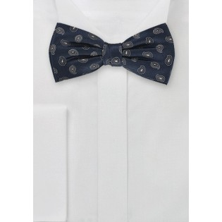 PreTied Navy Blue Paisley Bow Tie