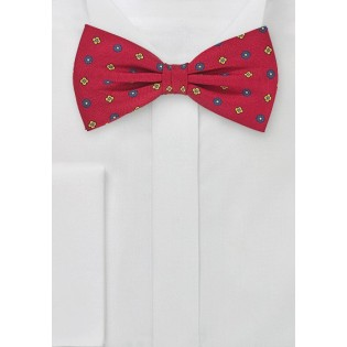 Geometric Floral Patterned Bow Tie
