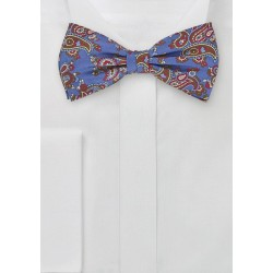 Paisley Patterned Bow Tie in Blues and Browns