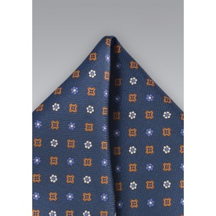 Silk Pocket Square in Dark Blue