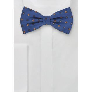 Contemporary Patterned Bow Tie in Blues and Oranges