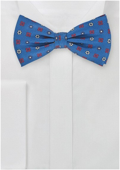 Retro Floral Tie in Victoria Blue