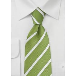 Fresh Grass Green and White Striped Kids Necktie