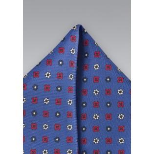 Retro Floral Pocket Square in Nautical Blue