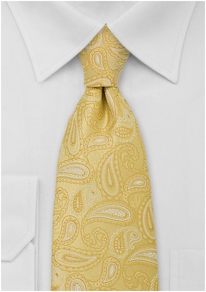 XL Bright Yellow Paisley TIe