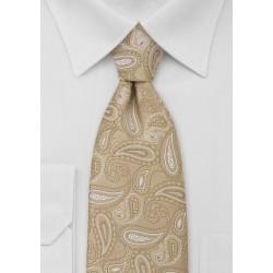 XL Golden Tan Paisley Necktie