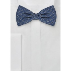 Microplaid Silk Bow Tie in Navy Blue
