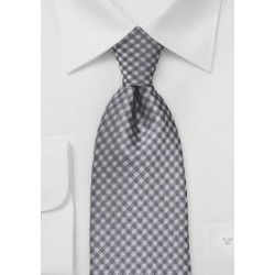 Heather Grey Gingham Tie in XL