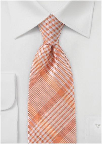Peach Orange Glen Check Tie