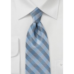 Plaid Tie in Blues and Silvers