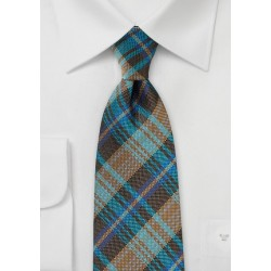 Large Plaid Tie in Browns and Teals