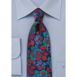 Embroidered Floral Tie in Navy and Red